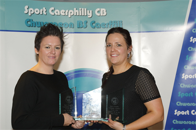 Ruth Winning the Sports Caerphilly 'Volunteer of the Year' Award - January 2016